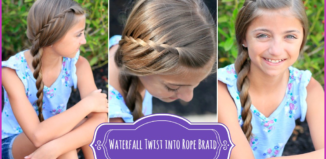 How to make braid waterfall twist rope hairstyle